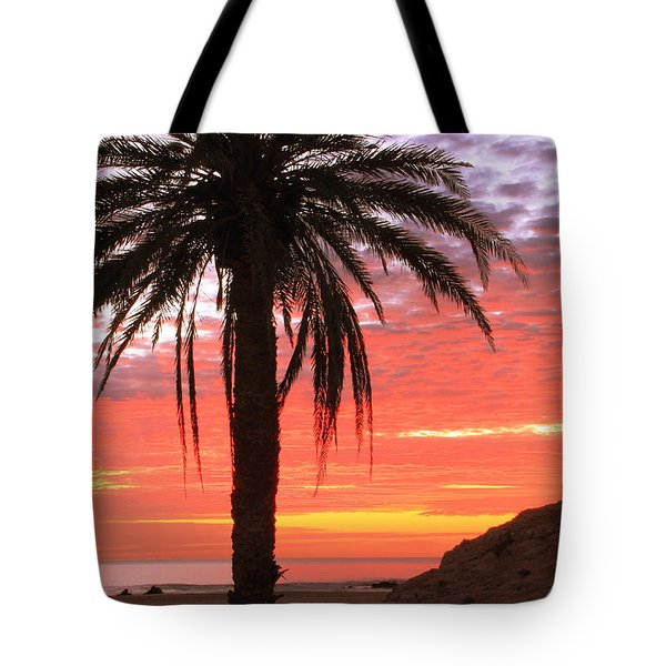 Palm Tree And Dawn Sky Tote Bag