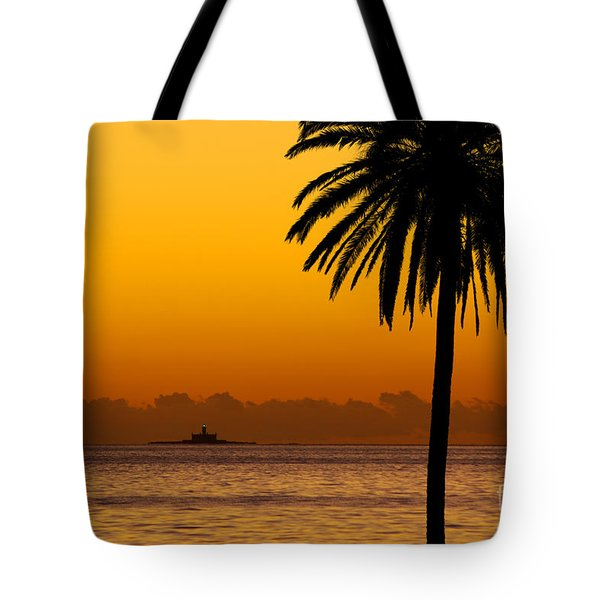 Palm Tree Sunset Tote Bag by Carlos Caetano