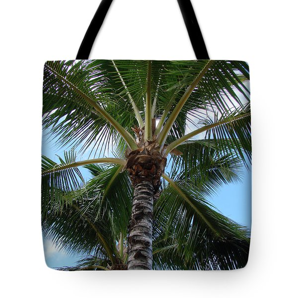 Tote Bag featuring the photograph Palm Tree Umbrella by Athena Mckinzie