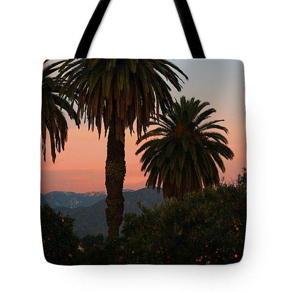 Palm Trees And Orange Trees Tote Bag
