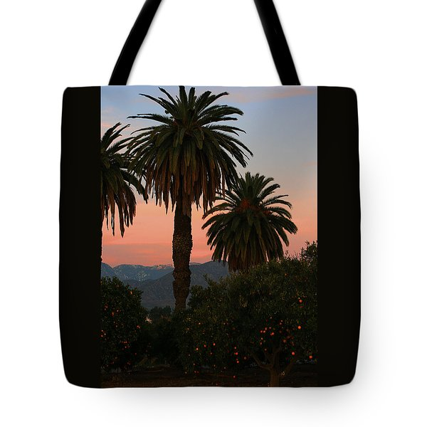 Palm Trees And Orange Trees Tote Bag