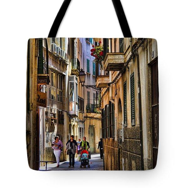 Palma Mallorca Street Scene Tote Bag by David Smith