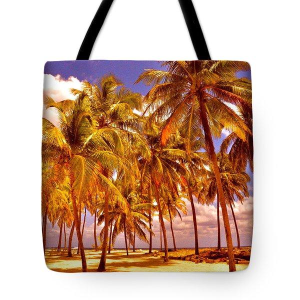 Palms On Half Moon Caye II  Tote Bag by Valerie Rosen