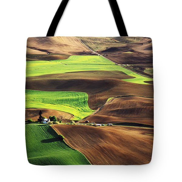 Palouse Farm Country Tote Bag by Dennis Flaherty and Photo Researchers