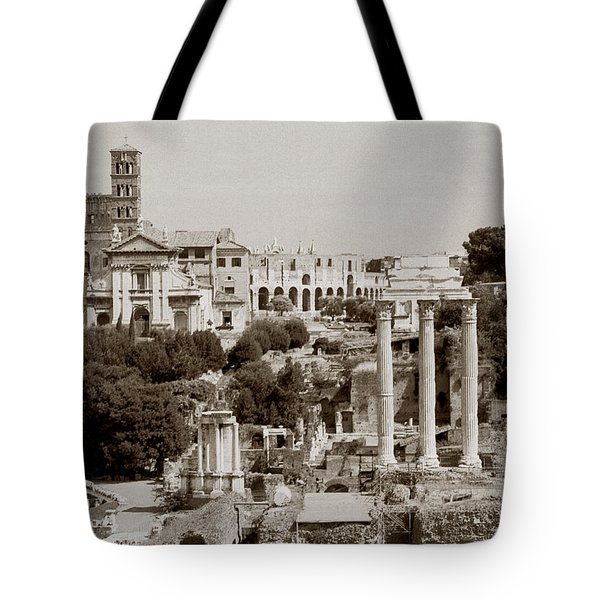 Panoramic View Via Sacra Rome Tote Bag by Tom Wurl