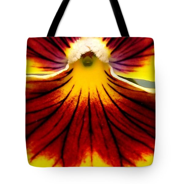 Tote Bag featuring the photograph Pansy Named Imperial Gold Princess by J McCombie