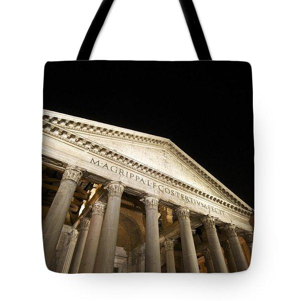 Pantheon At Night. Rome Tote Bag