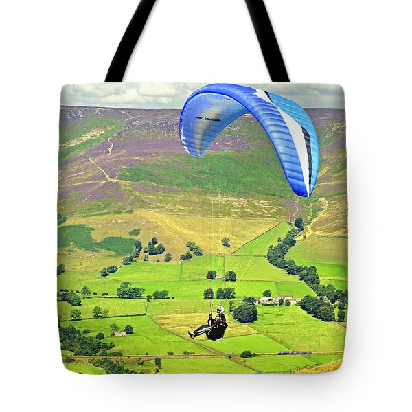 Paragliding Off Mam Tor 01 Tote Bag by Rod Johnson
