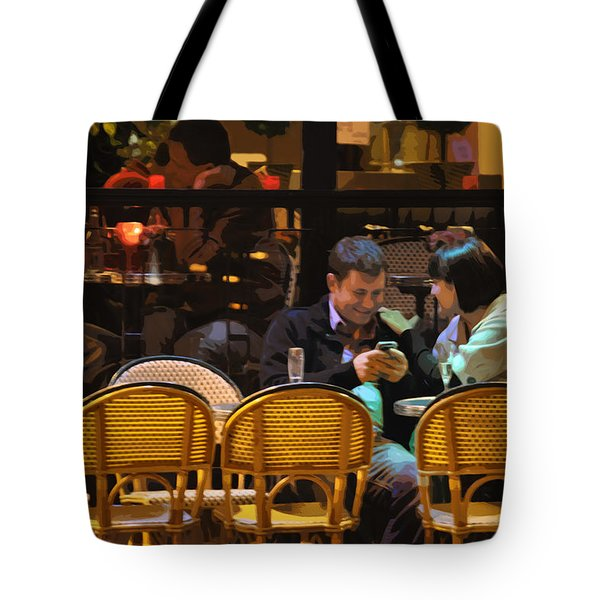 Paris At Night In The Cafe Tote Bag by Mary Machare