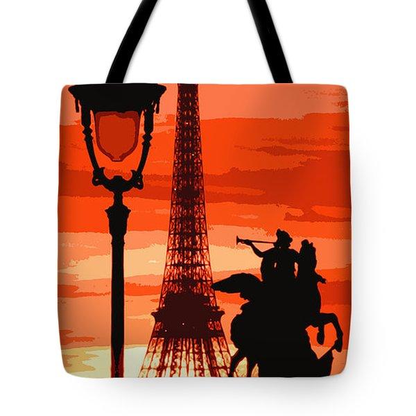 Paris Tour Eiffel Red Tote Bag by Yuriy  Shevchuk