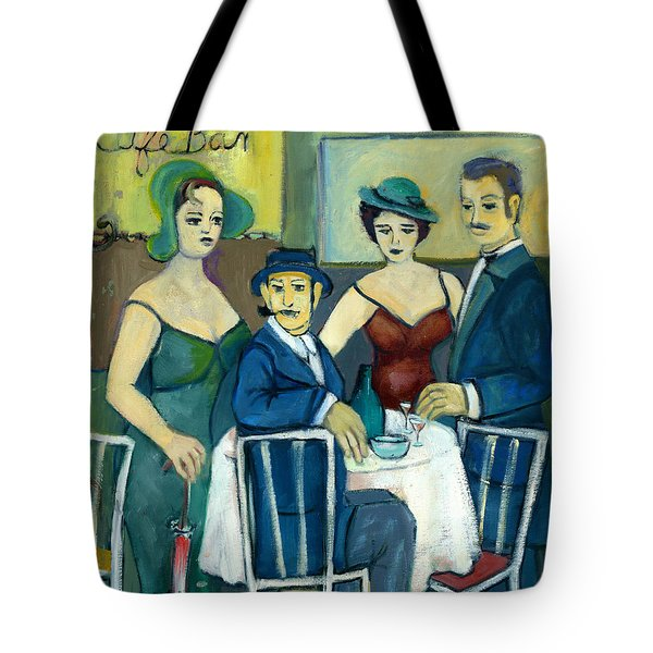 Parisian Cafe Scene In Blue Green And Brown Tote Bag by Rachel Hershkovitz
