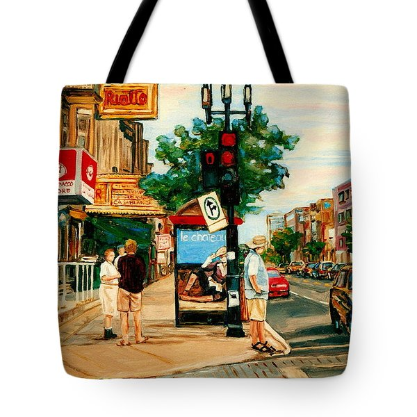 Park Avenue And Bernard Montreal City Scene Tote Bag by Carole Spandau