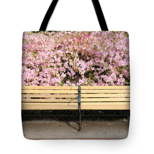 Tote Bag featuring the photograph Park Bench And Azaleas by Bradford Martin