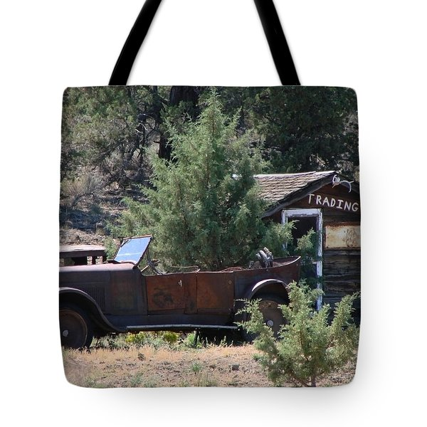 Tote Bag featuring the photograph Parked At The Trading Post by Athena Mckinzie