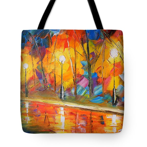Tote Bag Featuring The Painting Parkside Stroll By Jessilyn Park