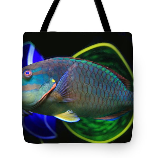 Parrot Fish With Glass Art Tote Bag by David Salter