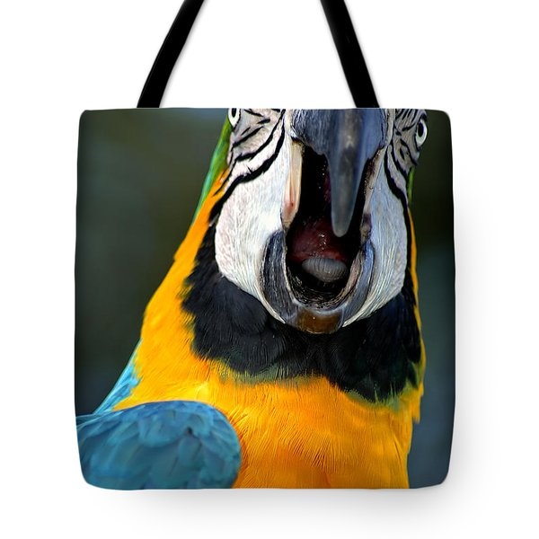 Parrot Squawking Tote Bag by Carolyn Marshall
