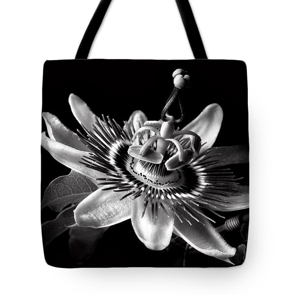 Passion Flower In Black And White Tote Bag
