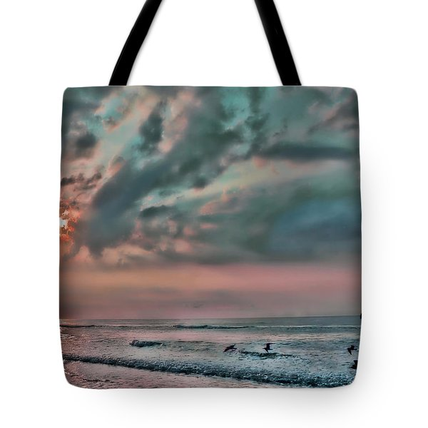 Pastel Sky With Birds Tote Bag