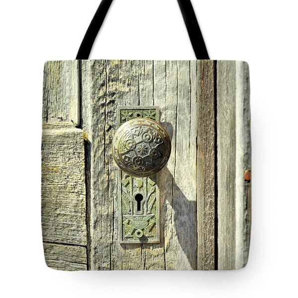 Tote Bag featuring the photograph Patina Knob by Fran Riley