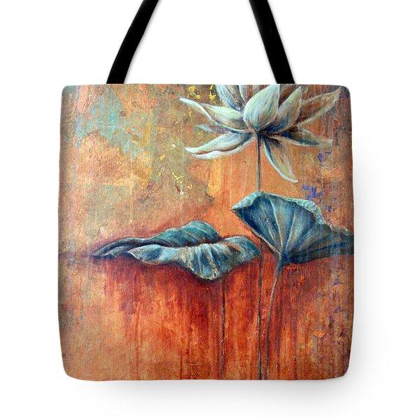 Tote Bag featuring the painting Patina Lotus by Ashley Kujan