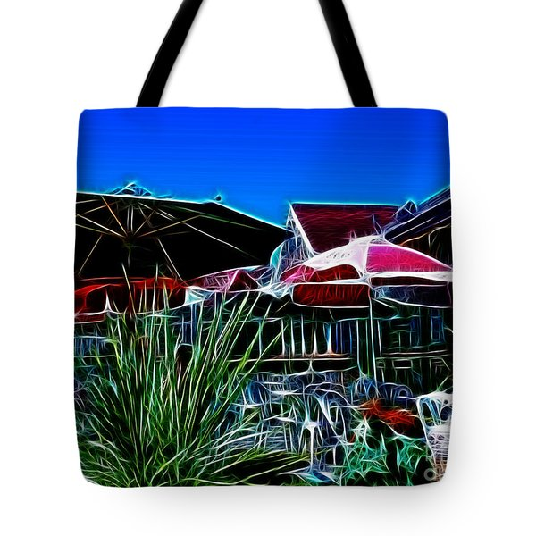 Patio Umbrellas Tote Bag by Methune Hively