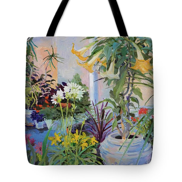 Patio With Flowers Tote Bag