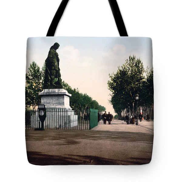 Paul Riquet Statue And The Allees In Beziers - France Tote Bag by International  Images