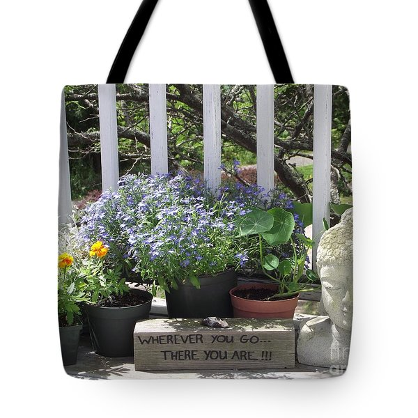 Peace And Buddha Tote Bag