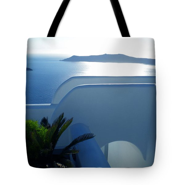 Peaceful Sunset Santorini Tote Bag