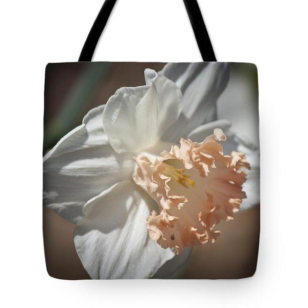 Peach Ruffle Daffodil 1 Tote Bag by Teresa Mucha