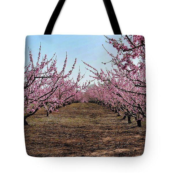 Peaches To Be Tote Bag by Skip Willits