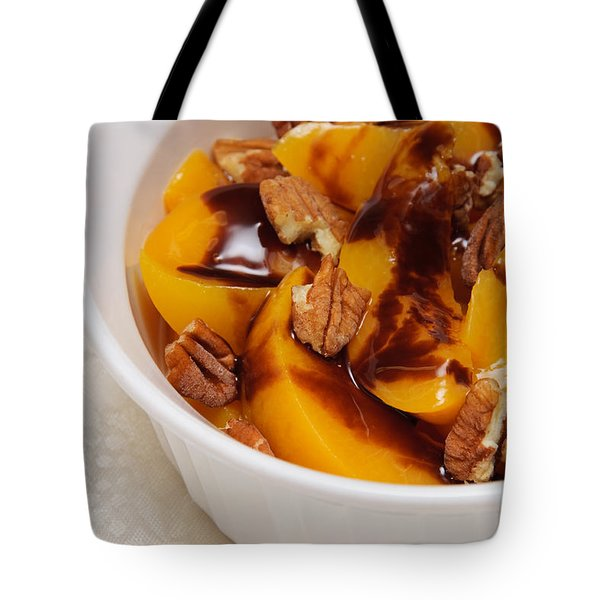 Peaches With Chocolate Drizzle And Pecans Tote Bag by Andee Design