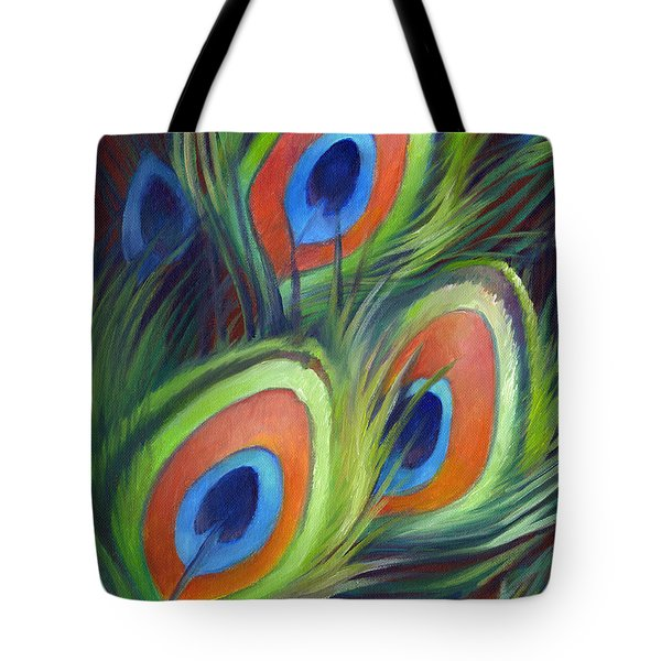 Tote Bag featuring the painting Peacock Feathers by Nancy Tilles