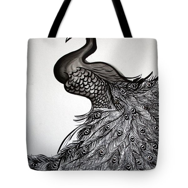 Peacock Sumie Ink Tote Bag
