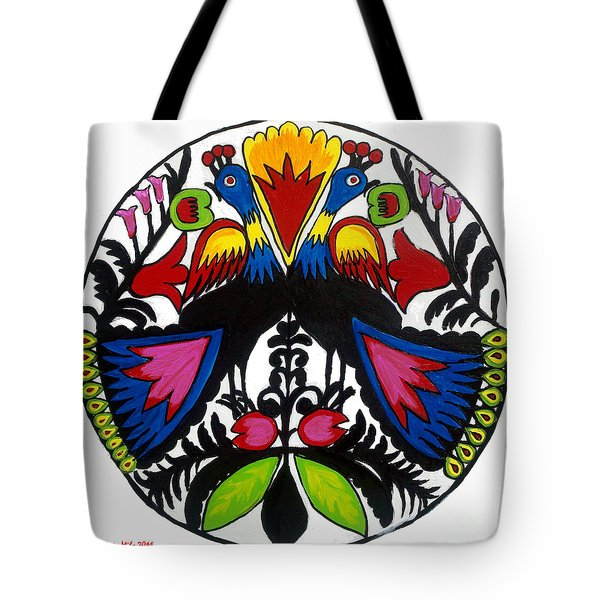 Peacock Tree Polish Folk Art Tote Bag