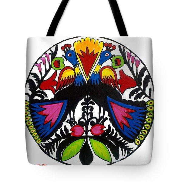 Peacock Tree Polish Folk Art Tote Bag by Ania M Milo