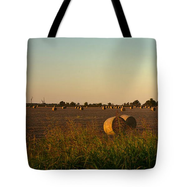 Peanut Field Bales At Dawn 1 Tote Bag by Douglas Barnett