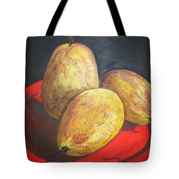 Tote Bag featuring the painting Pears On Red Plate by Mary Kay Holladay