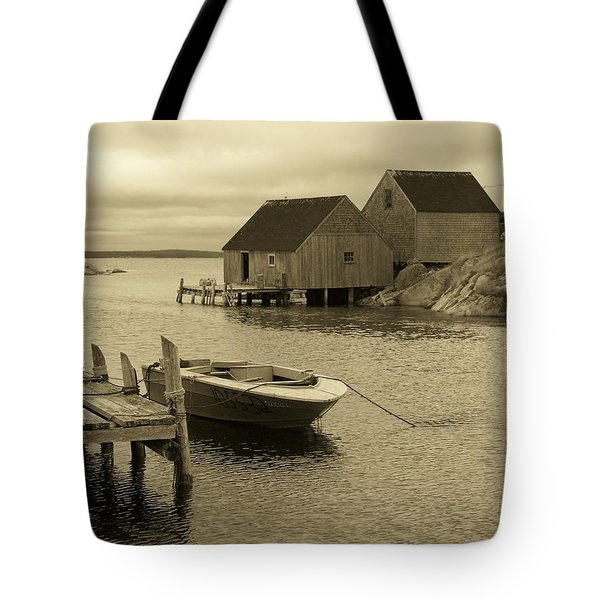 Peggys Cove In Sepia Tote Bag by Richard Bryce and Family
