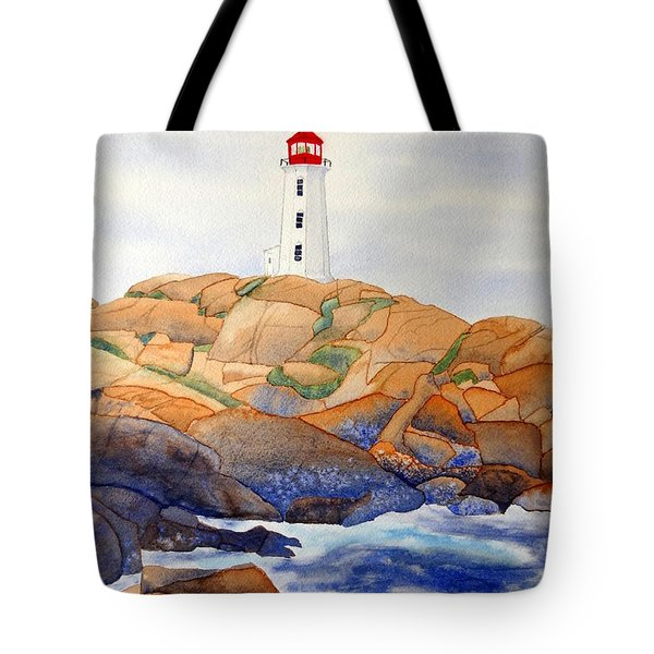 Tote Bag featuring the painting Peggy's Cove by Laurel Best