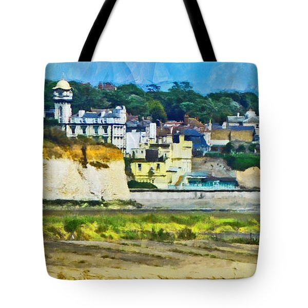 Tote Bag featuring the digital art Pegwell Bay by Steve Taylor