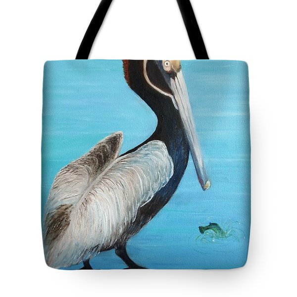 Tote Bag featuring the painting Pelican by June Holwell
