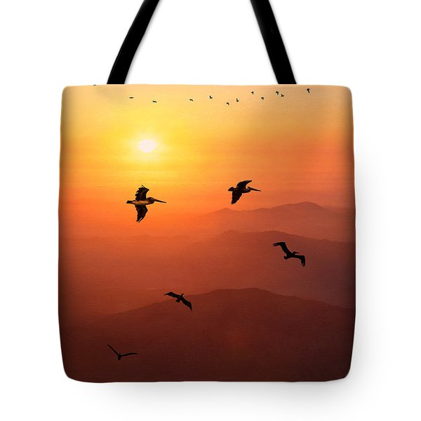Tote Bag featuring the photograph Pelican Migration by Chris Lord