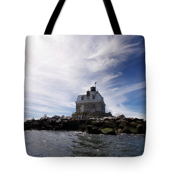 Penfield Reef Lighthouse Tote Bag by Stephanie McDowell