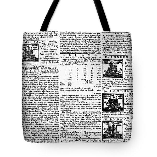 Pennsylvania Gazette, C1749 Tote Bag by Granger