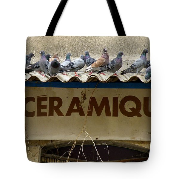 Perched Pigeons Tote Bag by Lainie Wrightson