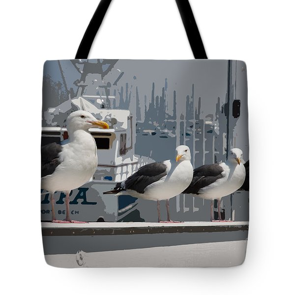 Tote Bag featuring the photograph Perched Seagulls by Sonny Marcyan