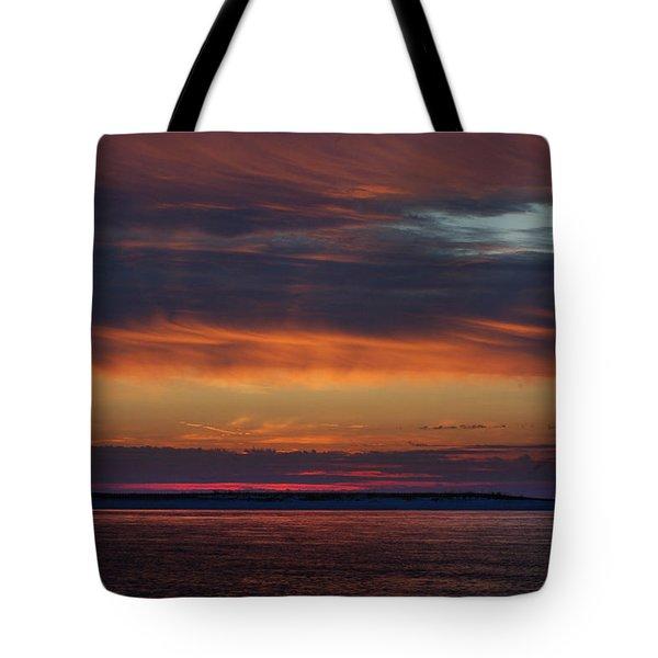 Perdido Pass Red Sunrise Tote Bag by Michael Thomas