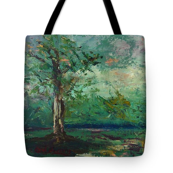 Tote Bag featuring the painting Persimmon In Plein Air by Carol Berning